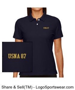 USNA 87 Ladies Performance Polo Design Zoom